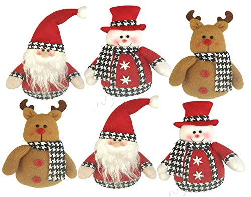 North Pole Novelty Assorted 5″ Holiday Houndstooth Christmas Tree Ornaments – Set of 6 (2X Reindeer, Snowman and Santa Claus)