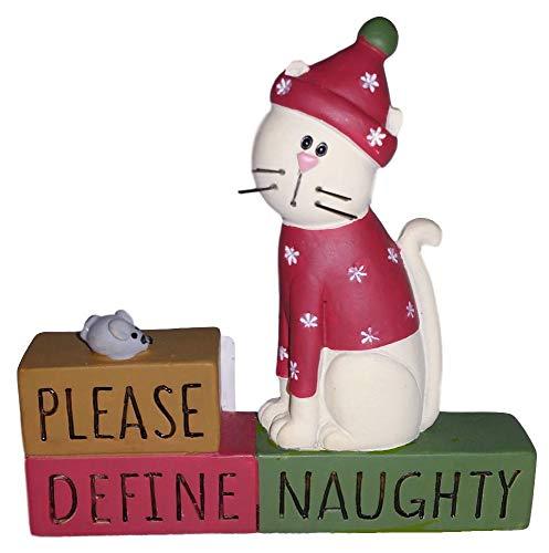 Blossom Bucket White Kitty Cat in Red Sweater Define Naughty Block Resin Figurine