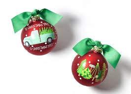 Coton Colors 100 MM O Christmas Tree Farm Glass Ornament