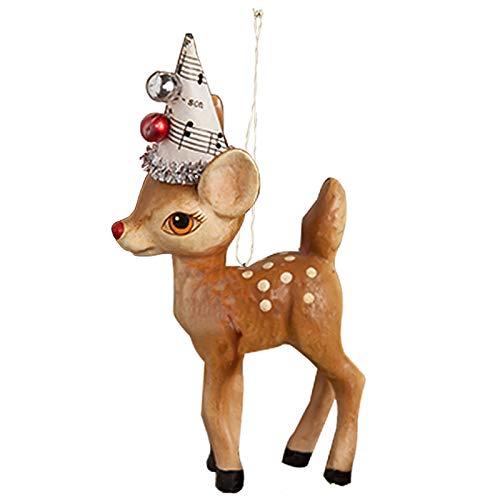Bethany Lowe Music Deer Reindeer Christmas Tree Ornament Retro Vintage Style Decor
