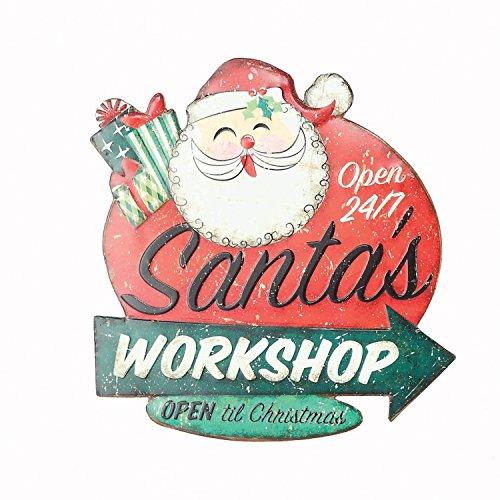Retro Vintage Tin Embossed Christmas Sign with Santa, Tree, or Snowman – Hanging Holiday Decoration (Santa)
