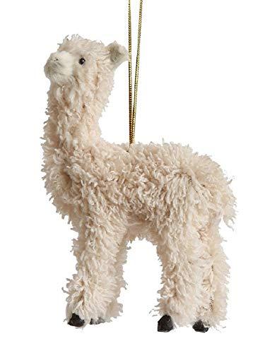 Creative Co-op Furry Llama Hanging Ornament