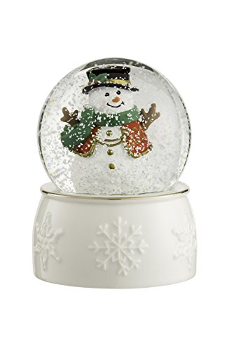 BELLEEK LIVING Snowman Snowglobe, Gold/White, 9 x 6.5 x 9 cm