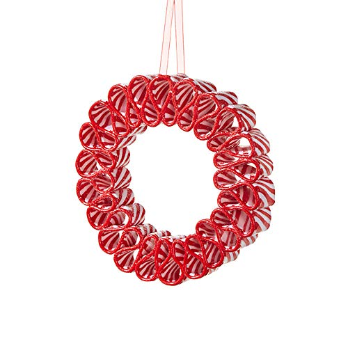 Ribbon Candy Wreath Rosy Red 7 x 7 Clay Dough Christmas Hanging Ornament