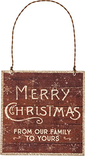 Primitives by Kathy 3.50 Inches Square Merry Christmas Wood Sign Ornament Home Decor