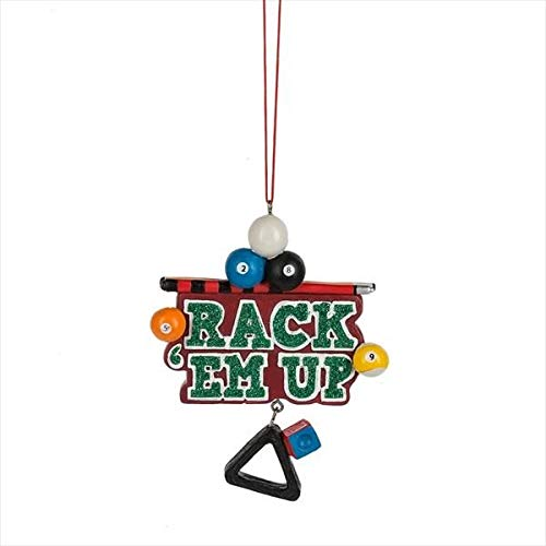 Midwest-CBK Rack Em Up Billiards Multicolored 5 x 4 Resin Stone Christmas Hanging Ornament