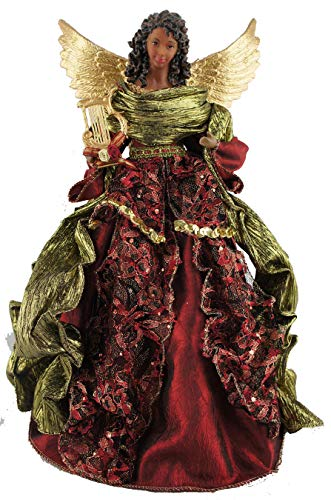 Santa's Workshop Aa Christmas Angel Tree Topper, 15″ Tall, Red/Gold/Green