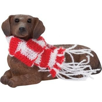 Red Dachshund with Red & White Scarf Sandicast Ornament