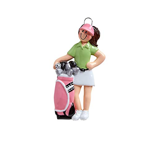 Rudolph & Me Inc Golfer Girl Personalized Christmas Ornament