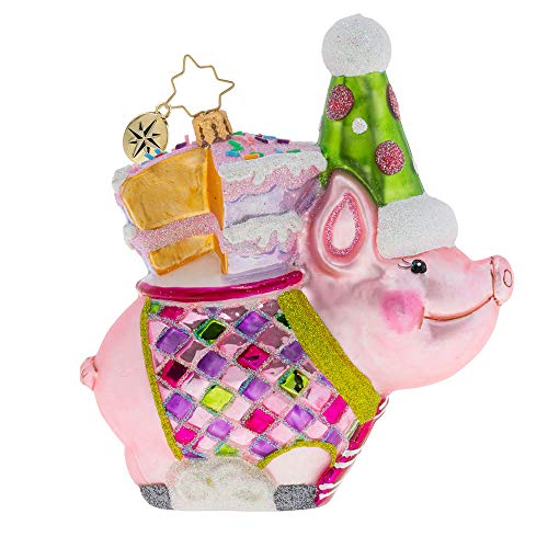 Christopher Radko Hand-Crafted European Glass Christmas Decorative Figural Ornament, Ready to Party Pig!