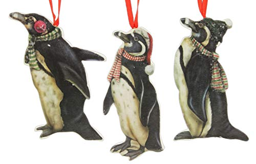 Bethany Lowe Wooden Penguin Ornaments, Set of 3