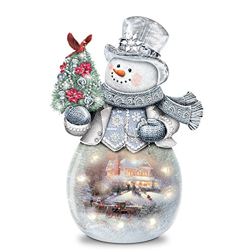 The Bradford Exchange Thomas Kinkade Frosted Glass Snowman Sculpture Lights Up