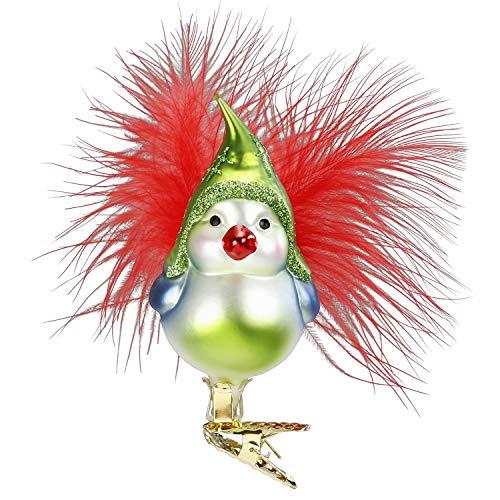 Inge-Glas Happy Bird, Clip-On Bird 10051S018 German Blown Glass Christmas Ornament