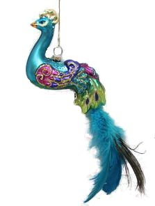 December Diamonds Blown Glass Ornament – Glass Peacock with Blue Feather Tail