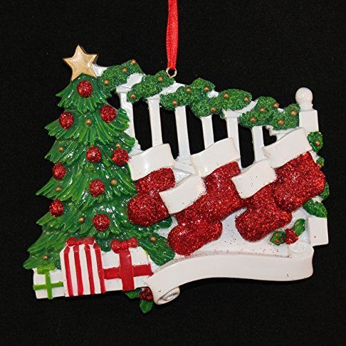 2451 Bannister with 5 Stockings Hand Personalized Christmas Ornament by Polar X Ornaments