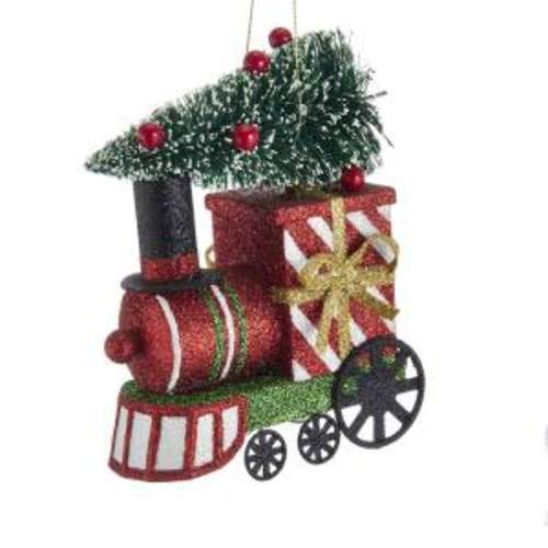 Kurt Adler D3539 Glittered Christmas Train with Tree Ornament, 5-inches Tall
