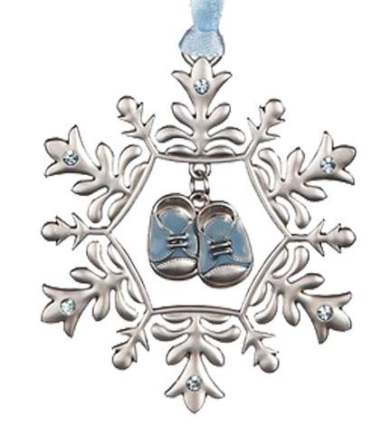 Ganz U.S.A, LLC Baby Boy's First Christmas Snowflake and Baby Shoes Ornament for Holiday Tree Decor Xmas Gifts 2019