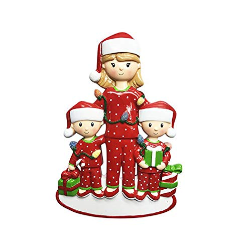 Personalized Single Mom with 2 Children Christmas Tree Ornament 2019 – Cute PJs Mother Hug Kid Cozy Santa Hat Home Holiday Foster Appreciate Engraved Tradition Day Year Gift – Free Customization