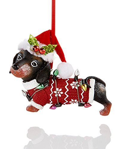 Holiday Lane Darling Dressed Dachshund Christmas Ornament with Festive Santa Hat and Sweater (3.75″)