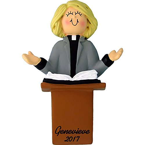 Calliope Designs Minister Preaching Personalized Christmas Ornament – Female – Blonde Hair – 4″ Tall – Handpainted Resin – Free Customization