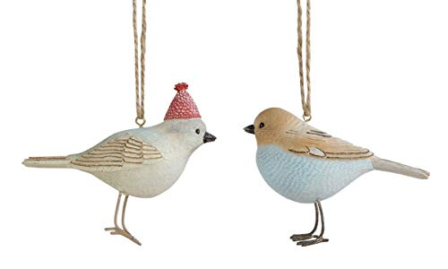 Creative Co-op Winter Birds Hanging Holiday Ornaments – Set of 2