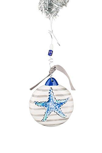 Glory Haus 4 x 4 Striped Starfish Puff Ornament, Multicolor