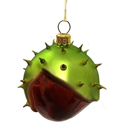 Pinnacle Peak Trading Company Thorny Chestnut Polish Glass Christmas Tree Ornament Nut Food Made in Poland