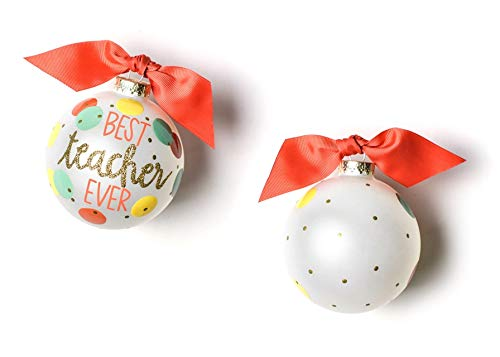 Coton Colors Best Teacher Ever Glass Ornament