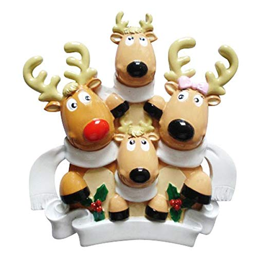 Polar X Reindeer Family of 4 with Scarves Personalized Christmas Ornament (Family Series)