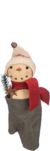 Primitives By Kathy 7.50 Inches Tall Bristle Cotton Metal Glove Snowman Decorative Ornament