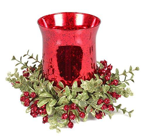 Kissing Krystals 8 Inch Mistletoe Floral Red Tea Light Glass Candle Holder Set