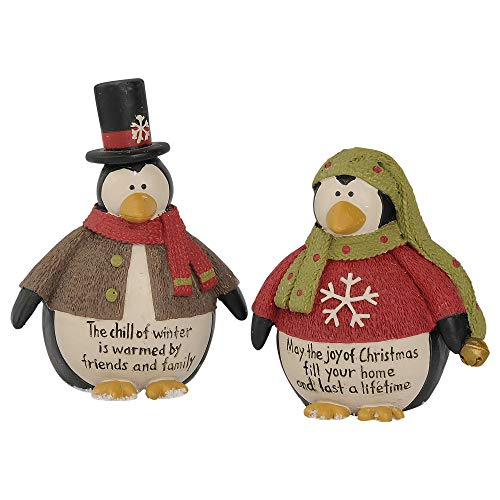Blossom Bucket Chill Winter Joy 3 x 2.25 Inch Resin Stone Christmas Tabletop Figurine Set of 2