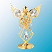 24K Gold Plated Mini Angel W/ Lyre Free Standing – Clear – Swarovski Crystal