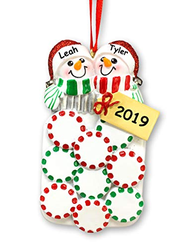 Personalized Snow Woman and Snowman – Mason Jar with Mints and Snow Couple with Detail Hanging Christmas Ornament with Custom Name and Date (Optional)