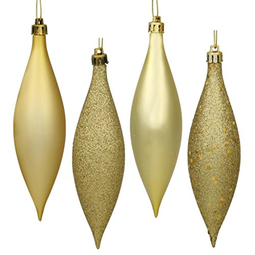 Vickerman 480366 – 5.5″ Gold Finial 4 Assorted Finish Christmas Tree Ornament (Set of 8) (N500168)