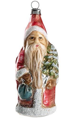 Marolin Little Santa Backpack Tree MA2011118 Glass Christmas Ornament w/Gift Box