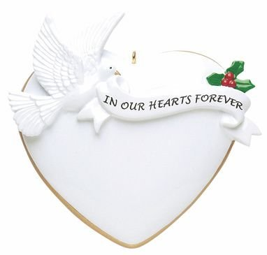 in Our Hearts Forever Memorial Heart Personalized Christmas Ornament-Free Personalization and Gift Bag!