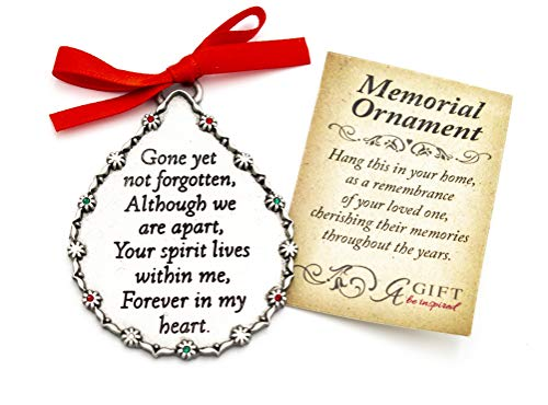Elysian Gift Shop Silver Metal Memorial Christmas Ornament Gone Yet Not Forgotten Teardrop Christmas Hanging Ornament with Beautiful Memorial Frase in The Center