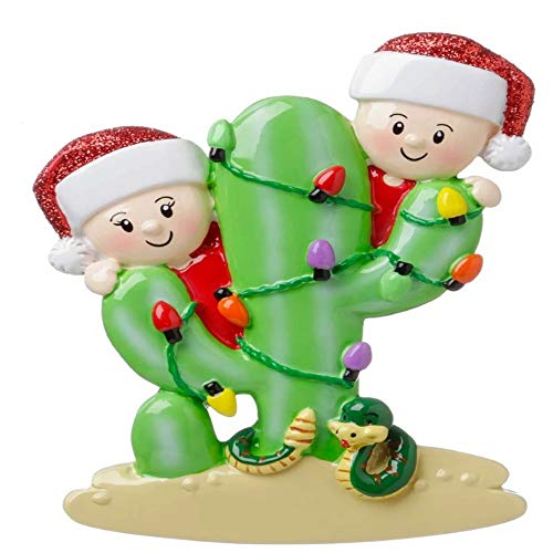 Polar X Cactus Family of 2 Personalized Christmas Ornament