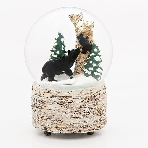 White Wash Wood Black Bear 5.5 inch Resin Decorative Snow Globe