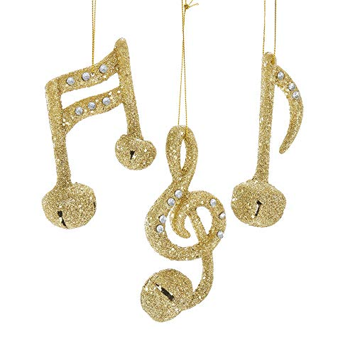 Kurt Adler Glittered Musical Notes Bell 4″ (Plastic) Set of 3 Ornaments for Christmas & Home Décor