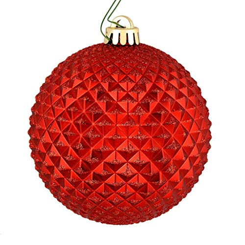 Vickerman 572962-6″ Red Durian Glitter Ball Christmas Tree Ornament (4 pack) (N188703D)