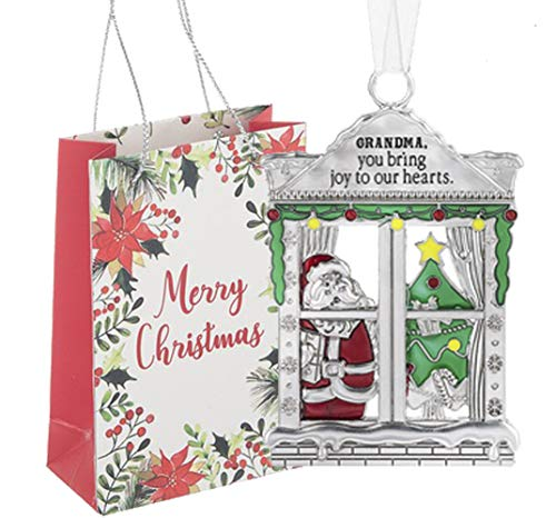 Ganz U.S.A., LLC Grandma Window Pane Santa Ornaments Grandma You Bring Joy to Our Hearts for Holiday Christmas Tree Decor Gifts 2019 from The Grandchildren Presented in a Merry Christmas Holiday Bag