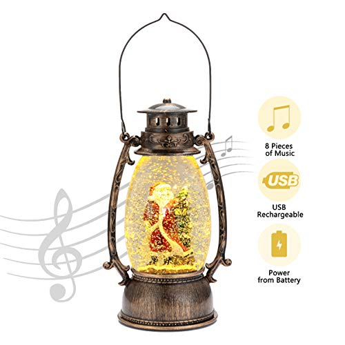 Lighted Snow Globe Lantern – Christmas Santa Claus Lantern, Snow Globe with Swirling Glitter and Battery & USB Powered, Home Decoration Christmas Gift
