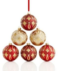 Holiday Lane Set of 6 Shatterproof Ornaments (Gold & Burgundy)