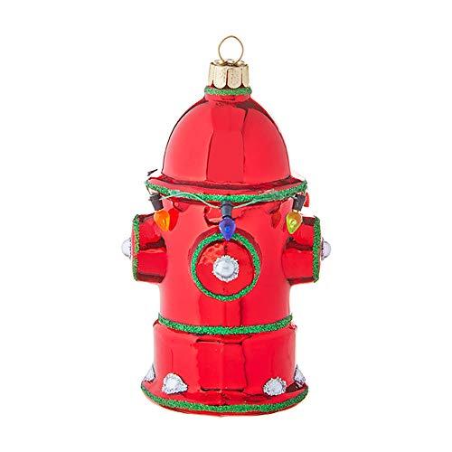 Raz imports Seasonal Vibrant Red Green Fire Hydrant 4.5 inch Glass Decorative Christmas Ornament