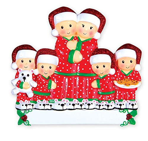 Personalized Christmas Tree Decoration Ornament 2019 – Traditional Home Décor – New Year Santa Gift – Holiday Fun w Hanging Hook – Pajama Family of 6 – Free Customization