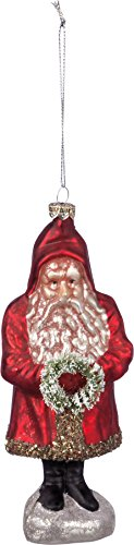 Primitives By Kathy 3.50 Inches x 6 Inches Bristle Glass Santa with Wreath Decorative Hanging Ornaments