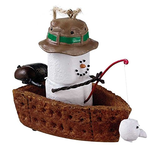 S'Mores Fishing Boat Resin Stone Christmas Tree Ornament
