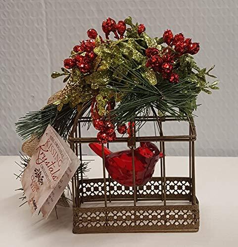 Ganz Kissing Krystals Christmas – Rustic Cardinal Birdcage